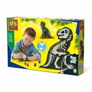 SES Creative gieten en schilderen T Rex met skelet glow in the dark