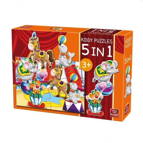 King legpuzzel Kiddy Puzzles 5 in 1 Circus 29 stukjes