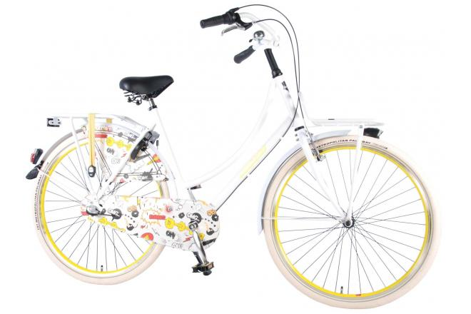 SALUTONI Urban Transportfiets Wit/Geel - Cartoon - Unisex - 28 inch